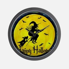 Scottish Terrier and Halloween Witch Wall Clock