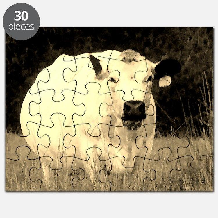 British White Cow at Pasture - Sepia Puzzle