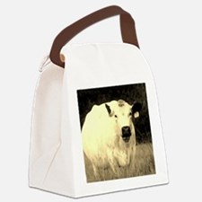 British White Cow at Pasture - Se Canvas Lunch Bag