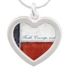 Texas Flag Silver Heart Necklace
