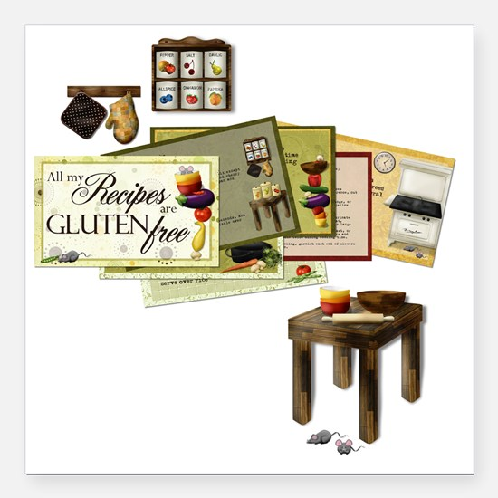 """All My Recipes are Glute Square Car Magnet 3"""" x 3"""""""