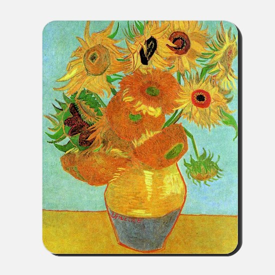 Still Life Vase with Twelve Sunflowers Mousepad