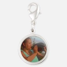 KISS A FLOUNDER FOR LUCK! Silver Round Charm