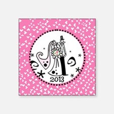 """Just Married 2013 Square Sticker 3"""" x 3"""""""