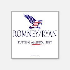 "Romney-Ryan America First Square Sticker 3"" x 3"""