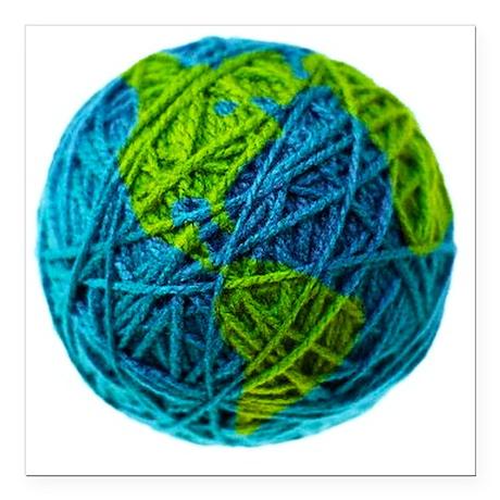 "Global Ball of Yarn Square Car Magnet 3"" x 3"""