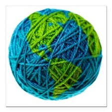 "Global Ball of Yarn Square Car Magnet 3"" x 3"""