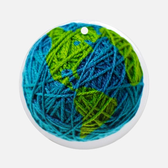 Global Ball of Yarn Round Ornament