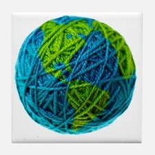 Global Ball of Yarn Tile Coaster