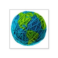 "Global Ball of Yarn Square Sticker 3"" x 3"""
