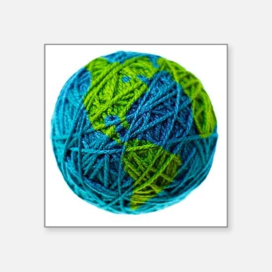 "Global Ball of Yarn Square Sticker 3"" x 3"""