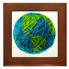 Global Ball of Yarn Framed Tile