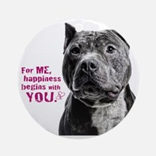 Pit Bull Beast Round Ornament