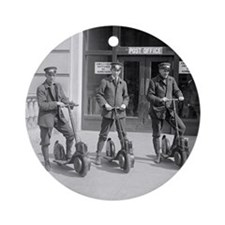 Vintage Postmen On Scooters Round Ornament