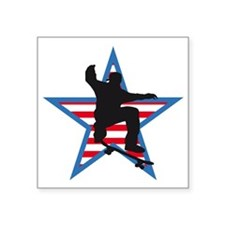 "skateboard jump skater usa Square Sticker 3"" x 3"""