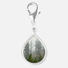 Misty forest Silver Teardrop Charm