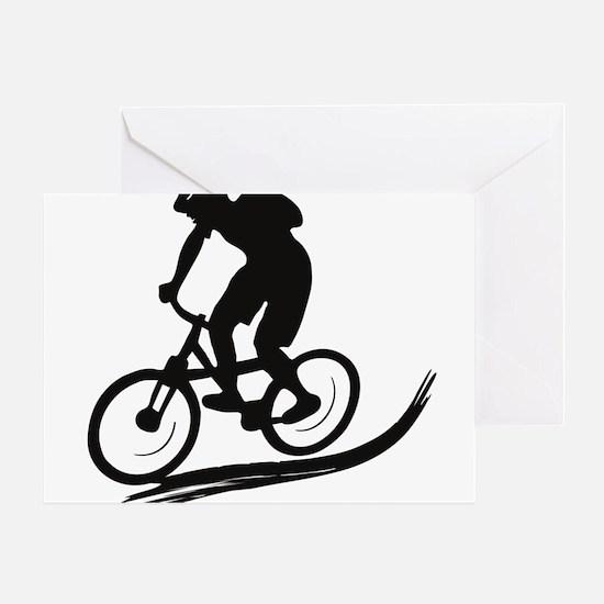 biker mtb mountain bike cycle downhi Greeting Card