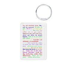 White Slogan Journal Back Keychains