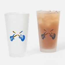 e-guitar rock and roll wing skull Drinking Glass