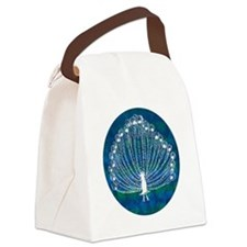 White Peacock Canvas Lunch Bag