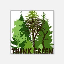 "think green save nature ear Square Sticker 3"" x 3"""