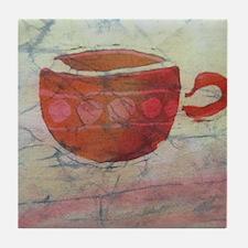 Batik Red Coffee Cup Tile Coaster