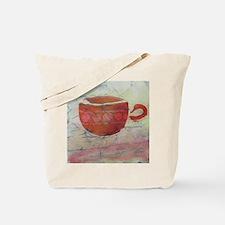 Batik Red Coffee Cup Tote Bag