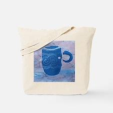 Batik Blue Coffee Cup Tote Bag
