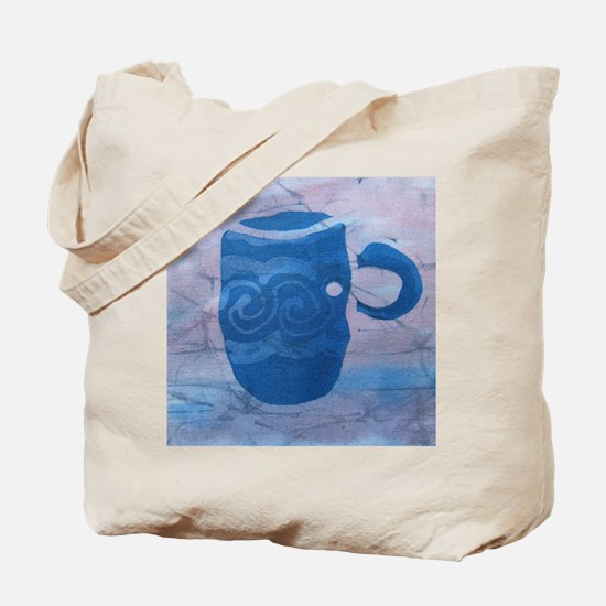 Batik Blue Coffee Cup Tote Bag