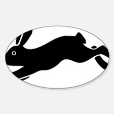 bunny hare rabbit easter Sticker (Oval)