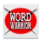 Word Warrior Red shield Tile Coaster