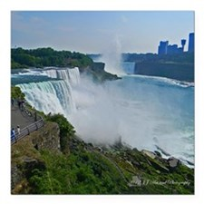 "Niagara Falls and Canada Square Car Magnet 3"" x 3"""