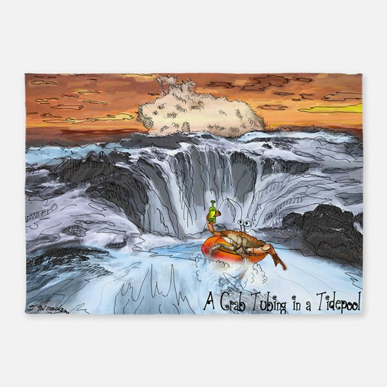 A Crab Tubing in a Tidepool 5'x7'Area Rug
