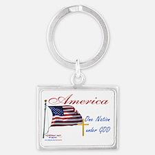 America One Nation Under God Ya Landscape Keychain