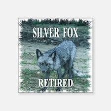 """Silver Fox Retired Square Sticker 3"""" x 3"""""""