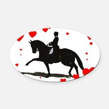 Dressage and Hearts Oval Car Magnet