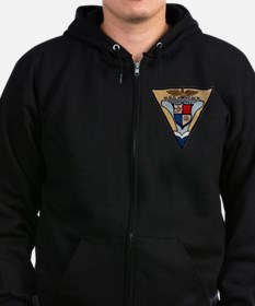 uss hancock patch transparent Zip Hoodie