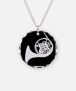 Horn Necklace Circle Charm