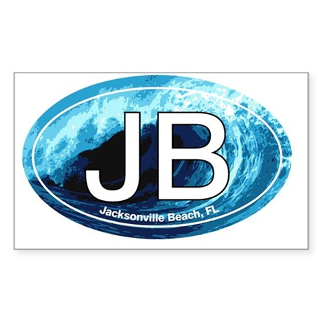 JB.Jacksonville Beach wave ova Sticker (Rectangle)