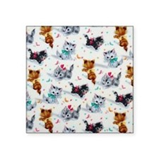"Cute Playful Kittens Square Sticker 3"" x 3"""