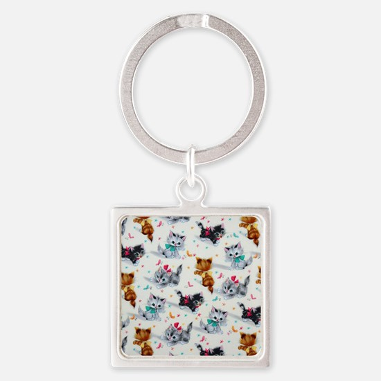 Cute Playful Kittens Square Keychain