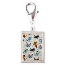 Cute Playful Kittens Silver Portrait Charm