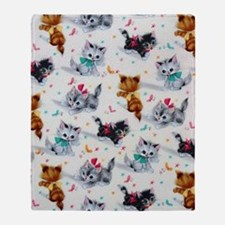 Cute Playful Kittens Throw Blanket
