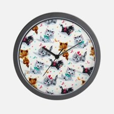 Cute Playful Kittens Wall Clock