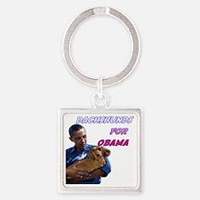 Obama Holds Dachshund Square Keychain