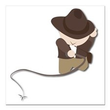 "boy with whip Square Car Magnet 3"" x 3"""