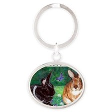 moonbeam and hobbes Oval Keychain