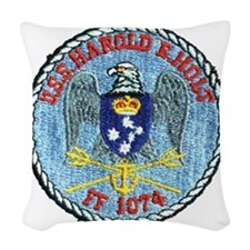 uss harold e. hold ff patch tr Woven Throw Pillow