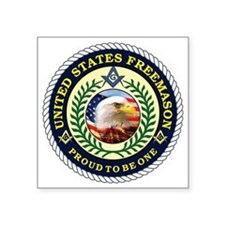 "United States Freemason Square Sticker 3"" x 3"""