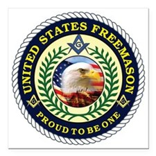 "United States Freemason Square Car Magnet 3"" x 3"""